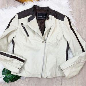 Charles Klein White Asymmetrical Leather Jacket